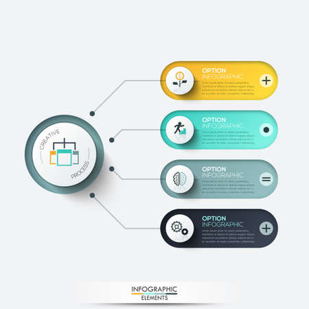 Vector elements for infographic. Template for diagram, graph, presentation and chart. Business concept with 4 options, parts, steps or processes. Illustration