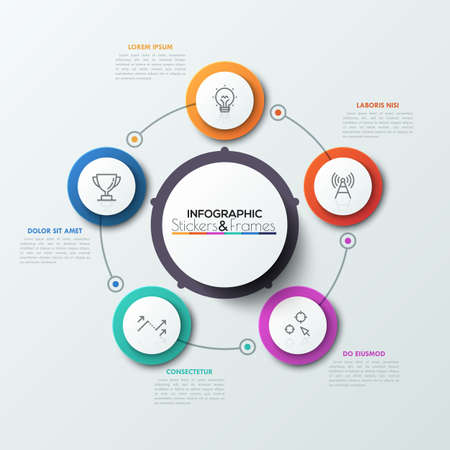 features: Five multicolored circles with thin line icons inside placed around main circular element. Visualization of business process concept.