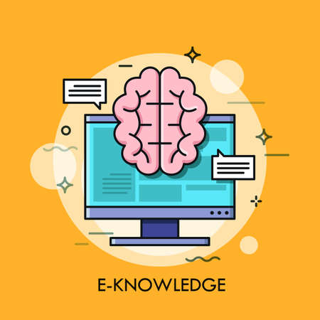 Computer screen and brain for E-knowledge, electronic learning, internet studying and online education concept.