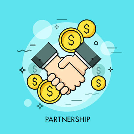 Handshake and dollar coins. Business partnership, effective and beneficial cooperation, deal making, agreement concept. Vector illustration in thin line style for website, banner, presentation, ad. Stock Illustratie