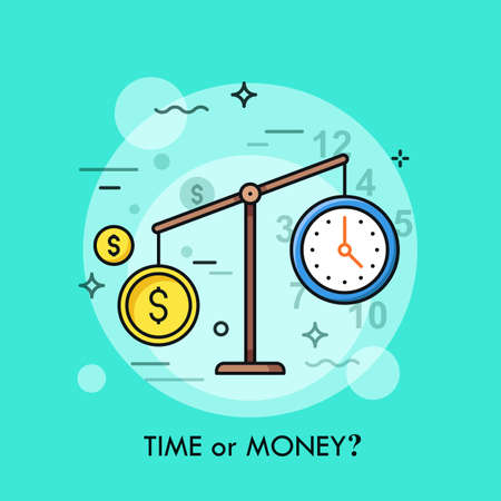 Watch and dollar coin on scales. Time or money, busyness and strenuous life, choice and dilemma concept. Vektorové ilustrace