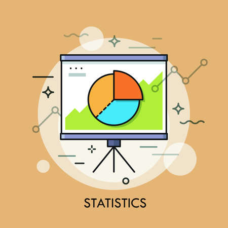 Circular pie chart or diagram on whiteboard. Statistics, statistical report, data, analysis and economic indicators concept. Vector illustration for brochure, presentation, poster, website banner.