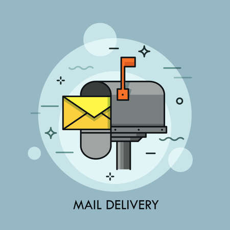 Yellow envelope in opened mailbox. Express mail delivery, courier and postal service, postage  concept. Creative vector illustration for brochure, presentation, print, website banner, poster.