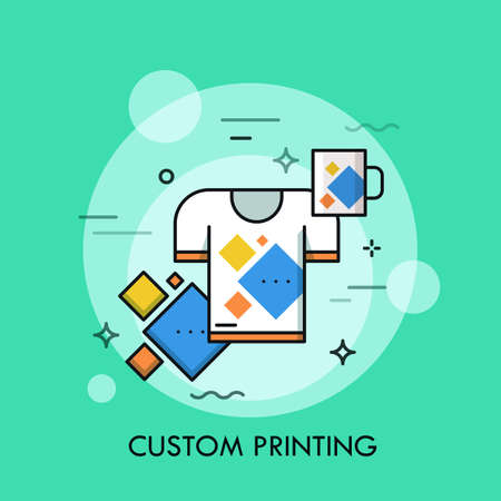 T-shirt and cup with same print. Branded and promotional products, custom printing service and merchandising concept. Vector illustration for brochure, presentation, print, website, banner, poster. Illustration
