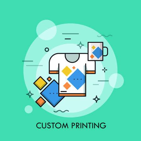 T-shirt e coppa con la stessa stampa. Prodotti di marca e promozionali, servizio di stampa personalizzato e concetto di merchandising. Illustrazione vettoriale per brochure, presentazione, stampa, sito Web, banner, poster.