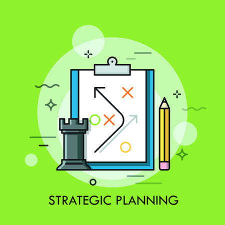 Rook chess piece, pencil and strategic plan drawn on paper sheet. Planning of business strategy and future development, defining of organizational process concept. Vector illustration for website. Illustration