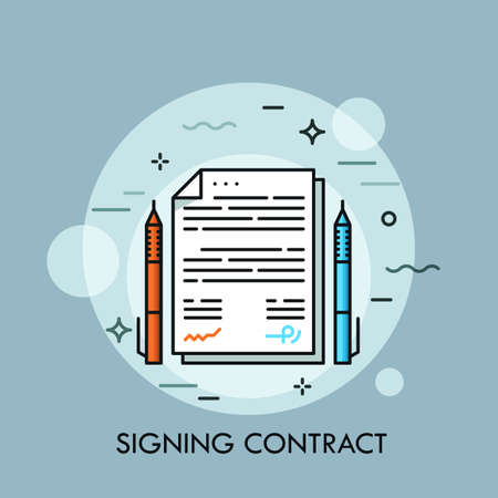 Two pens of different color and paper document between them, Contract signing, conclusion of business agreement, deal making concept for banner, website, poster, presentation. Иллюстрация