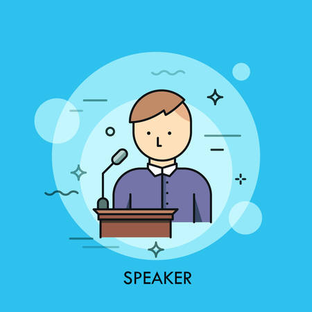 Person in purple shirt standing at lectern with microphone and speaking. Concept of speaker, chairman or lecturer giving public speech. Vector illustration for poster, website, banner, brochure.