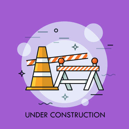 Traffic cone, road safety barrier and restrictive tape. Concept of website under construction, error 404, repairing services, street maintenance and dangerous area. Vector illustration for banner.