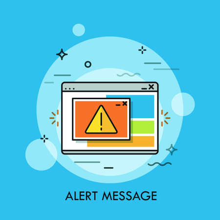 Program window displaying exclamation mark inside yellow triangle. Concept of critical alert message, system error notification box, program failure report. Vector illustration for banner, website.