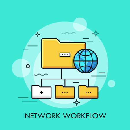 Tree scheme with yellow folder symbols and globe. Concept of directory structure, schematic organization of data storage, file system, network workflow. Vector illustration for web banner, website. Illustration