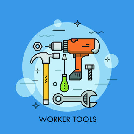 Hand and power tools and machines - screwdriver, wrench, electric drill, hammer, bolt and nut. Concept of manual and automated work. Vector illustration for advertisement, website, web banner. Illustration