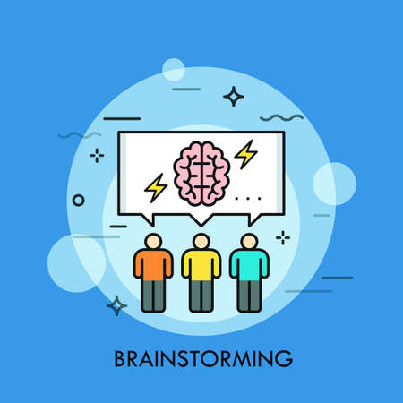 Three people and speech bubble with brain and lightning symbols inside. Concept of brainstorming meeting or session, collective thinking, idea creation. Vector illustration for web banner, website. 일러스트