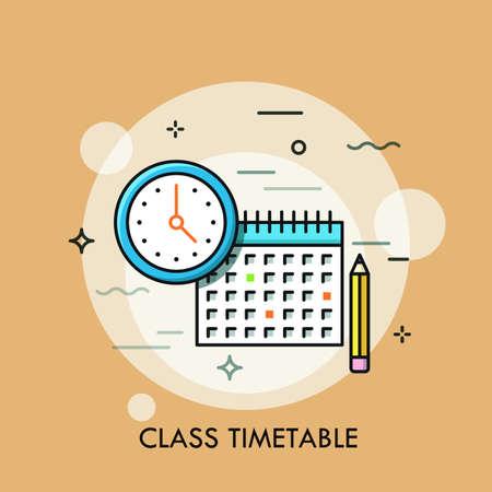 Reloj, calendario y lápiz. Concepto de horario o horario de clases, creación del plan de estudio personal, planificación y programación del tiempo de aprendizaje. Ilustración de vector moderno para banner, cartel, sitio web.