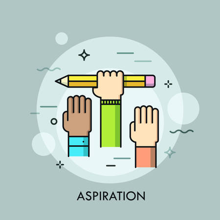 Raised human hands on Concept of aspiration, ambition of goal achieving, intention, endeavor. Illustration