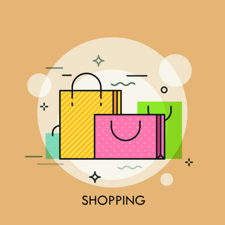 Colorful paper shopping bags with handles. Concept of buying goods, sales and discounts, online and offline commerce, internet retail. Creative vector illustration for banner, website, advertisement.