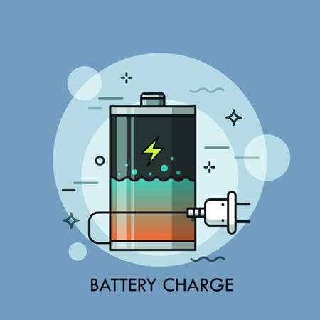 Rechargeable battery with liquid inside and plug. Concept of charge level check, charger or recharges, power bank, electrical device.