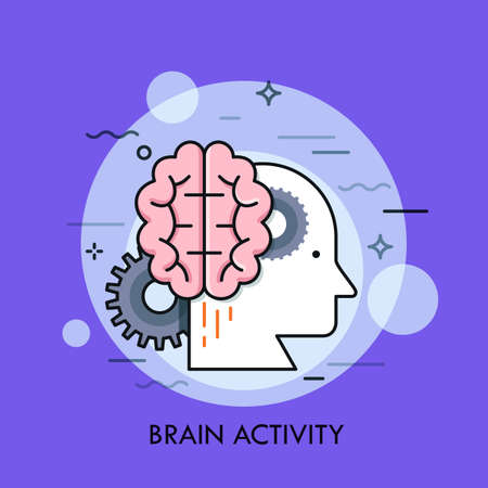Human head profile, brain and gear wheels. Concept of intellectual or mental activity, intelligence, creative or intelligent thinking. Flat vector illustration for banner, poster, advertisement.