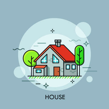 Two-storied house with red roof surrounded by green trees. Concept of housing, residential building, real estate. Creative vector illustration in flat style for web banner, poster, advertisement.