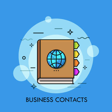 Notebook with colorful bookmarks and globe on cover. Concept of business contacts, international communication, global networking. Vector illustration for web banner, website, advertisement, poster.