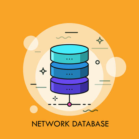 Cylinder divided into three colorful horizontal parts. Concept of network database, structural element of directory, data or information storage. Creative vector illustration for web banner, app.