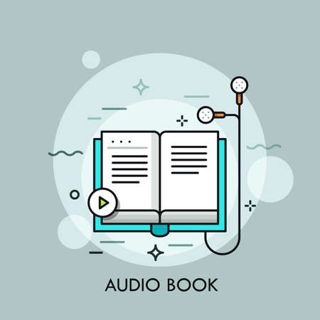Earphones connected to paper book and play button. Concept of audiobook, audio literature, recording of text being read. Modern colorful vector illustration for web banner, website, application.