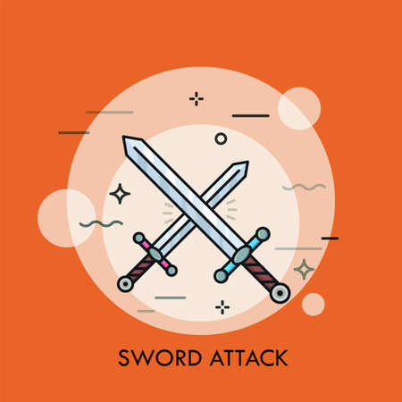 Pair of crossed or clashing swords. Concept of swordsmanship, bladed weapon battle, medieval war attack, fight, armed conflict. Modern vector illustration in thin line style for banner, poster, logo.