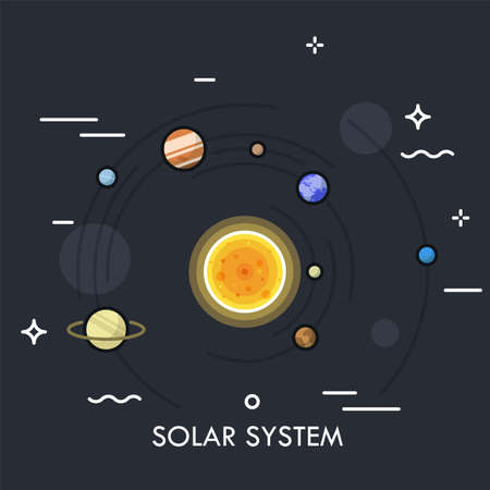 Planets orbiting Sun. Concept of Solar or planetary system. Gravitationally bound celestial bodies in outer space. Colorful vector illustration in thin line style for poster, website, banner.