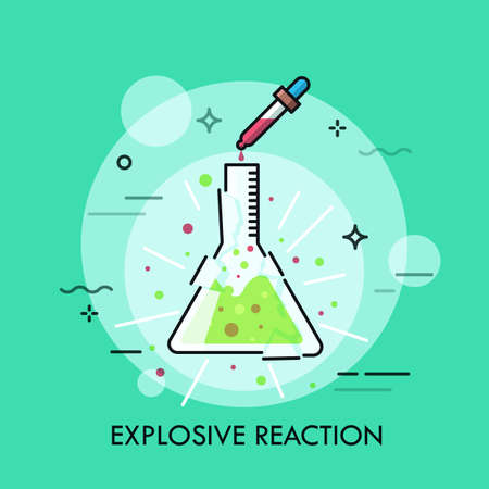 Broken glass flask with green liquid inside and pipette dripping red fluid. Concept of explosive chemical reaction, dangerous laboratory experiment. Modern vector illustration for banner, poster.