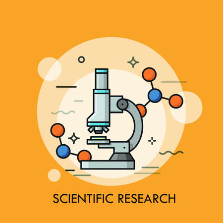 Microscope surrounded by molecular structures. Concept of scientific research, genetic testing, biochemistry laboratory equipment, optical tool. Colorful vector illustration for banner, poster.