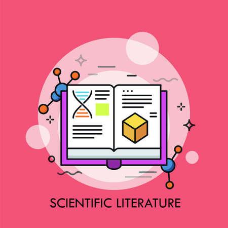 Libro aperto e strutture molecolari. Concetto di letteratura scientifica, studi e dati, pubblicazioni accademiche, pubblicazioni accademiche. Illustrazione creativa di vettore per banner, poster, sito Web.