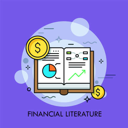 Opened book with graphs, diagrams and dollar coins. Concept of financial literature, economical studies and statistical data, scholarly publication. Modern vector illustration for banner, poster. Illustration
