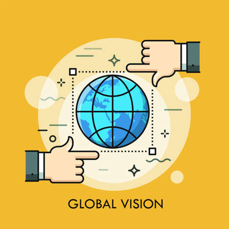 Globe inside frame of selection tool and two hands. Concept of global vision, international monitoring, watch, surveillance and observation. Modern vector illustration in thin line style for website. Illustration