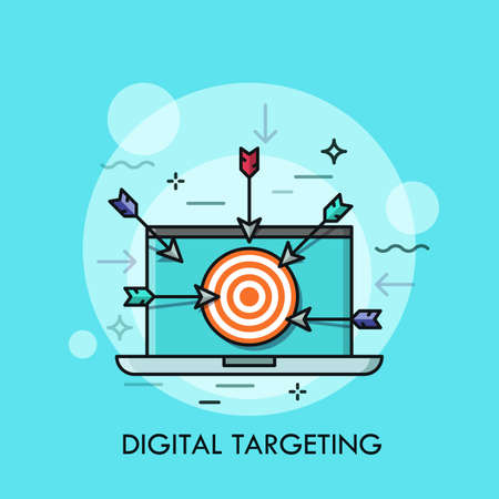 Laptop with shooting target with arrows on screen. Concept of digital targeting, online marketing strategy, business aim or goal. Modern vector illustration for banner, website, poster, advertisement. Illustration