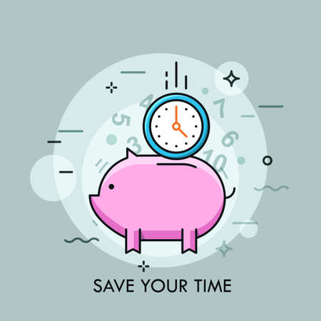 Clock falling into slot of piggy bank. Concept of time saving and management, effective planning and scheduling. Colorful vector illustration in thin line style for banner, website, poster, promo.