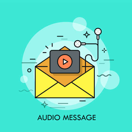 Opened yellow envelope, play button and earphones. Concept of audio message, e-mail contained multimedia file, recording or music track. Modern vector illustration in thin line style for web banner.