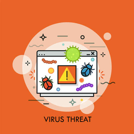 Computer program window, dangerous bacterias, microbes, germs, insects and warning sigh. Concept of virus threat or danger, system notification. Creative vector illustration for application, website.