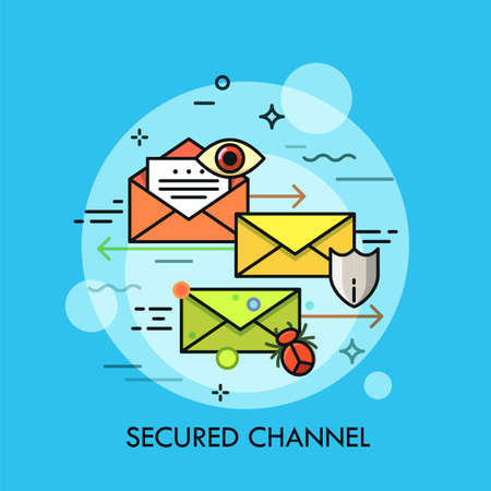 Envelopes surrounded by eye, shield symbol, insect and arrow. Concept of secured communication channel, safe digital data sending and transmission. Colorful vector illustration in thin line style.