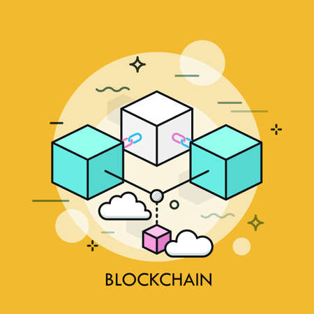 Colorful cubes or blocks connected by chain links. Concept of blockchain, technology of distributed digital transaction record. Creative vector illustration in thin line style for web banner, poster. 向量圖像