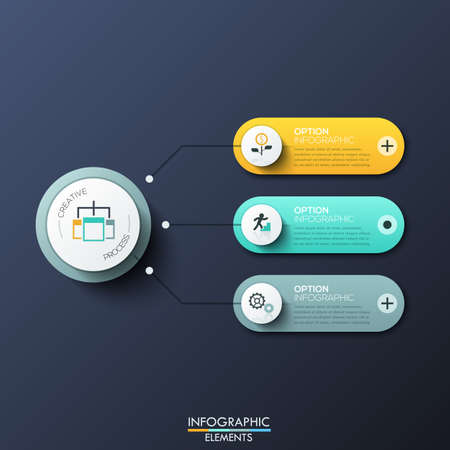 Modern infographic design template with 3 rounded rectangles, main circular element and arrows between them. Features of creative process, business development steps. Vector illustration for report.