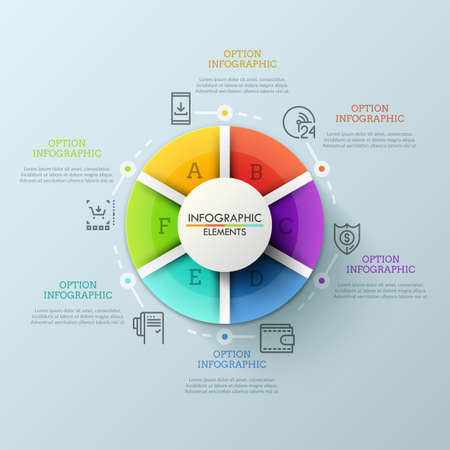 Circular chart divided into 6 colorful parts and surrounded by thin line icons and text boxes. Concept of services provided by internet retailer. Modern infographic design layout. Vector illustration. Иллюстрация