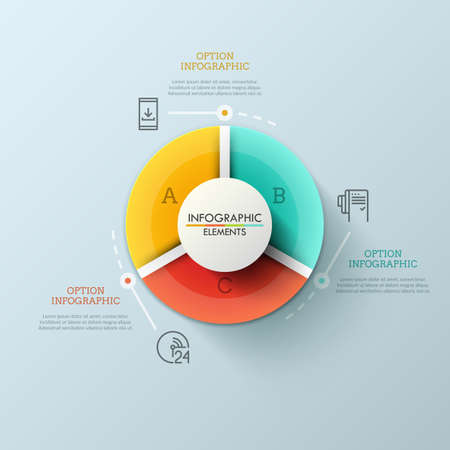 Round pie chart divided into 3 multicolored sectors, thin line pictograms and text boxes. Statistical data visualization concept. Futuristic infographic design template. Vector illustration. Иллюстрация