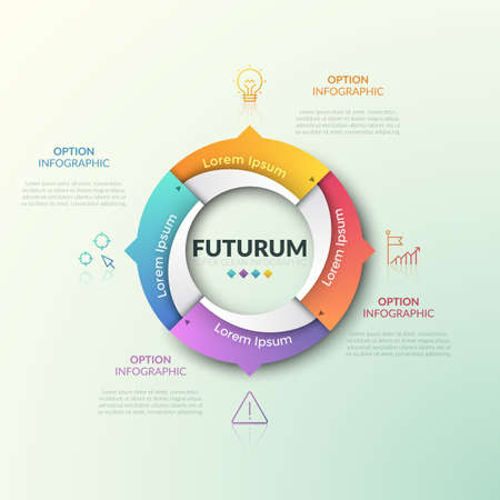 Round diagram divided into 4 parts with arrows pointing at thin line pictograms and text boxes. Four qualities of production cycle concept. Modern infographic design template. Vector illustration.