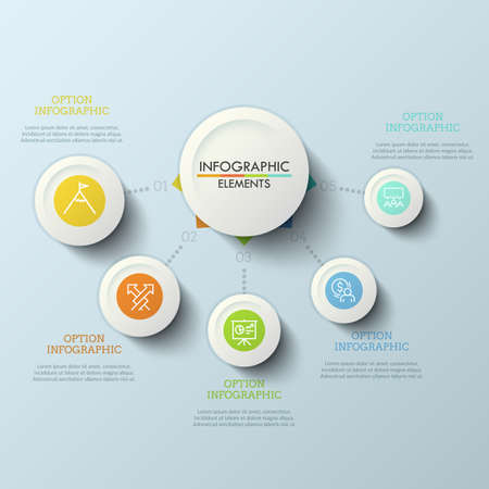 Flow chart, central round element connected with 5 numbered options by dotted lines. Five features of companys services concept. Modern infographic design layout. Vector illustration for brochure.