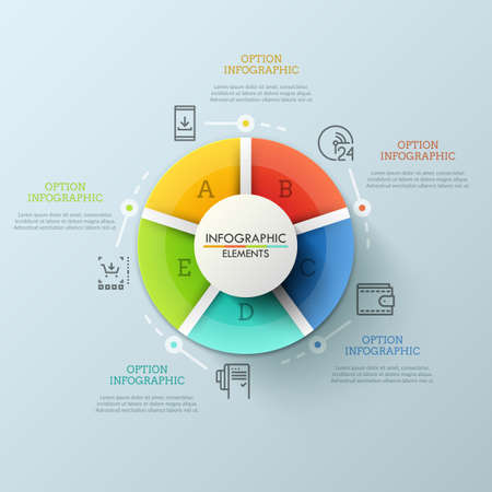 Round diagram divided into 5 multicolored pieces marked with letters. Interface elements of web or mobile application for online shop. Creative infographic design template. Vector illustration.