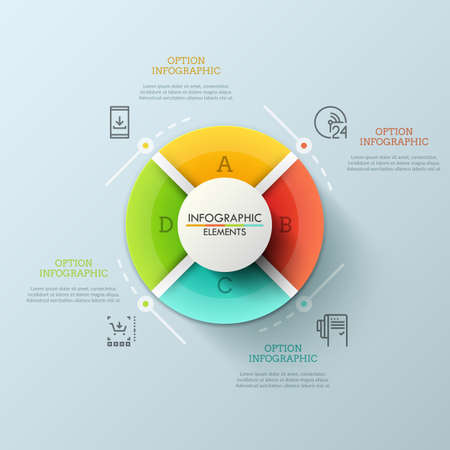 Circular pie chart divided into 4 equal lettered sectors. Concept of round website menu with colorful buttons. Futuristic infographic design layout. Vector illustration for brochure, presentation.