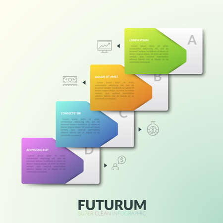 Four overlaying rectangular elements with text boxes placed in diagonal row and thin line symbols near each of them. Modern infographic design layout. Vector illustration for presentation, report.  イラスト・ベクター素材