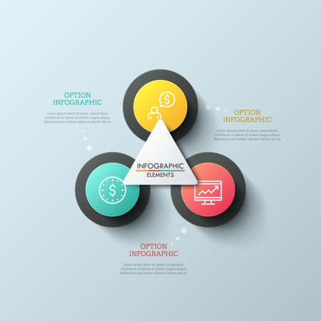 Diagram with 3 round elements, thin line pictograms inside them and white triangle in center. Three options to choose concept. Creative infographic design layout. Vector illustration for brochure.