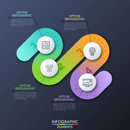 Modern infographic design template in shape of curved path with 4 numbered steps, thin line symbols and text boxes. Concept of four obstacles to successful business development. Vector illustration. Vectores