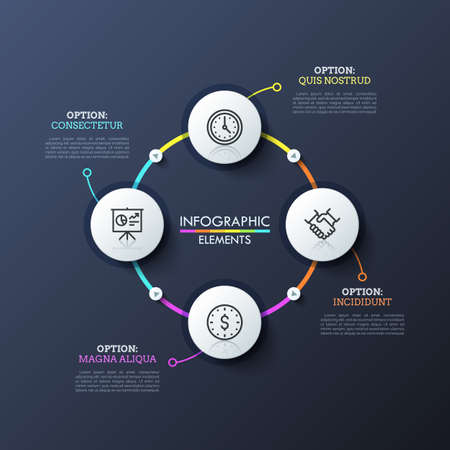 Circular diagram with 4 round white elements connected by colorful lines and play buttons. Modern infographic design layout. Concept of closed cycle system. Vector illustration for presentation. Illustration